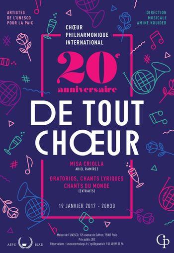 20e anniversaire De Tout Choeur  Maison de l'UNESCO   Jeudi 19 janvier 2017
